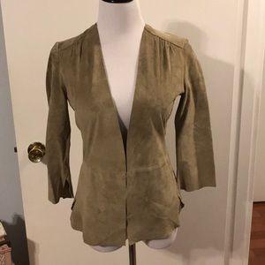 Ecru anthro sueded leather jacket